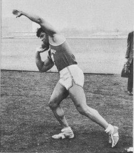 Harold Poole shotputing bodybuilder