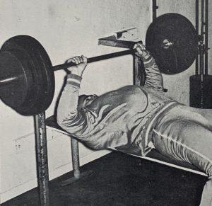 Shot put training benchpress Dallas Long