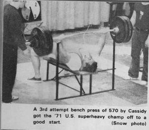 Hugh Cassidy 570lb benchpress 1971