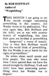 Bob Hoffmann vs Joe weider powerlifting AAU